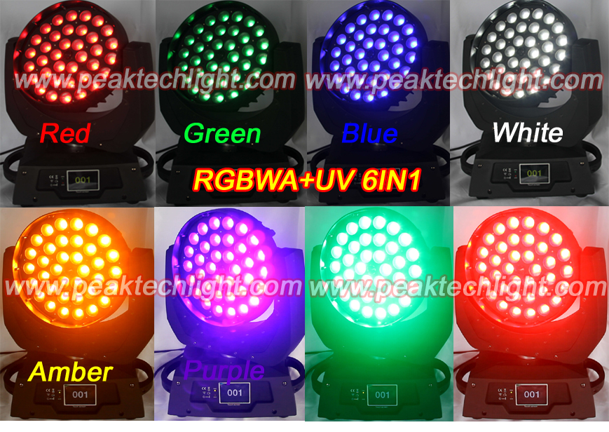 2014 New RGBWA UV 6IN1 36PCS Wash Zoom LED Moving Head (PT-MW3618)